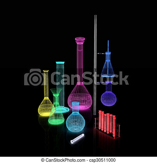 Chemistry set, with test tubes, and beakers filled with colored liquids - csp30511000