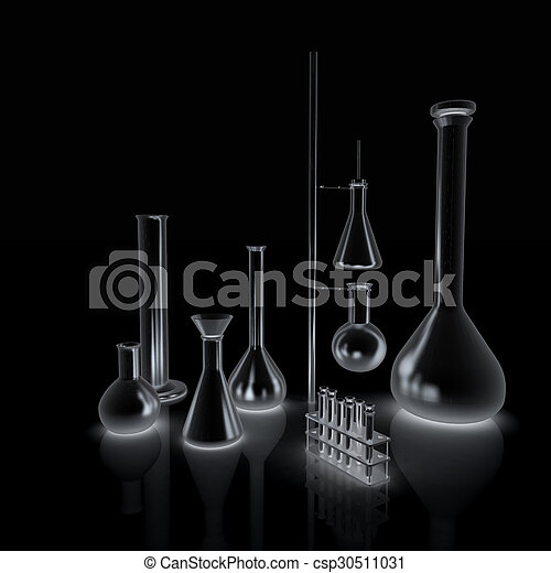 Chemistry set, with test tubes, and beakers filled with colored liquids - csp30511031