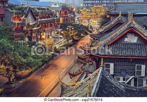 Chengdu, China at Qintai Street. - csp21676014