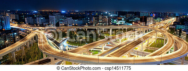 Chengdu, China, city overpass at night  - csp14511775