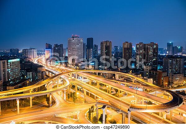chengdu overpass at night - csp47249890