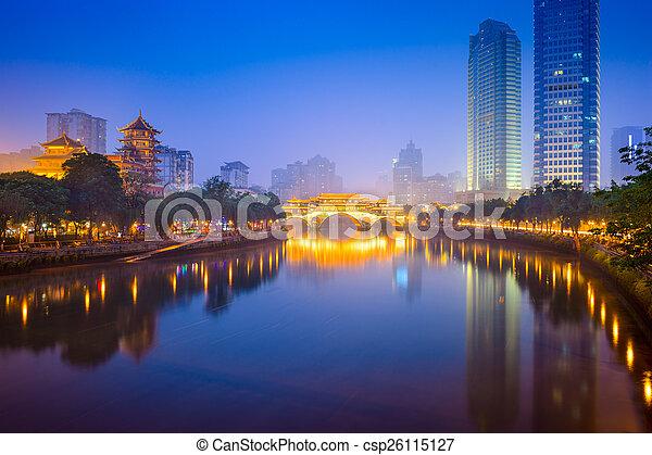 Chengdu River Skyline - csp26115127