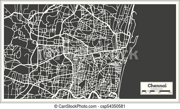 Line Art Illustration Style : Chennai india city map in retro style. outline map. vector