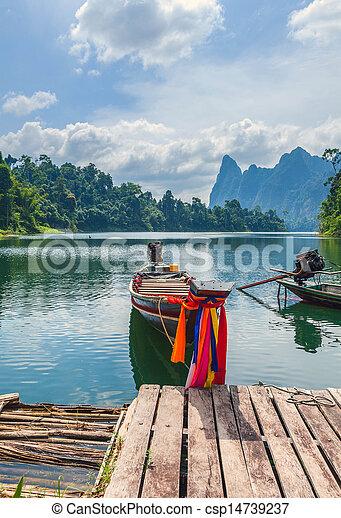 Cheo Lan Lake in the Thai Reserve - csp14739237