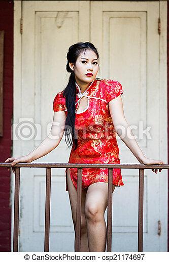 cheongsam, 伝統的である, 女の子, 祝福, 中国語 - csp21174697