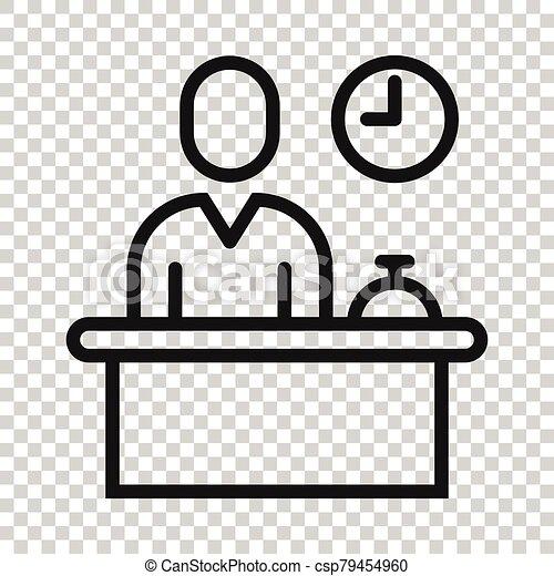 cheque, reservación, blanco, hotel, icono, concept., plano, style., servicio, recepción, vector, ilustración, fondo., reservación, aislado, empresa / negocio - csp79454960
