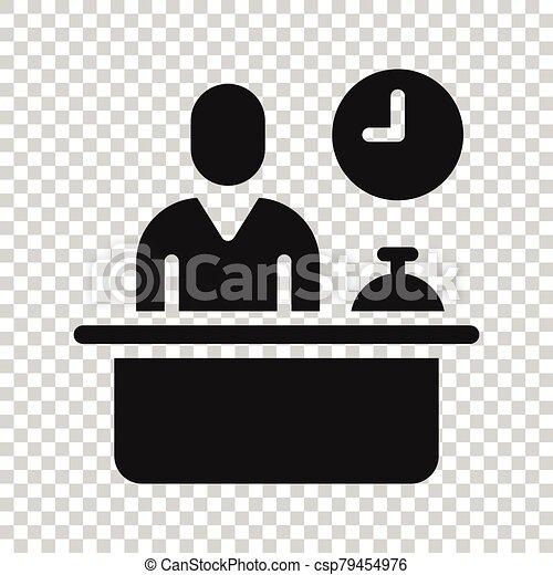 cheque, reservación, blanco, hotel, icono, concept., plano, style., servicio, recepción, vector, ilustración, fondo., reservación, aislado, empresa / negocio - csp79454976