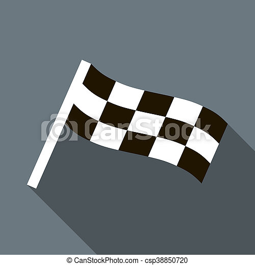 Chequered flag motor icon in flat style - csp38850720