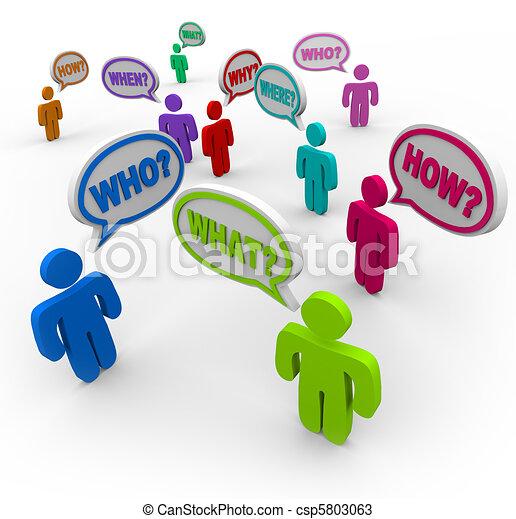 chercher, soutien, gens, demander, parole, questions, bulles - csp5803063