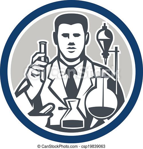 chercheur, laboratoire, scientifique, retro, cercle, chimiste - csp19839063