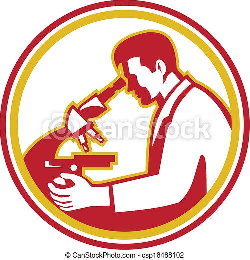 chercheur, microscope laboratoire, scientifique, retro, chimiste - csp18488102