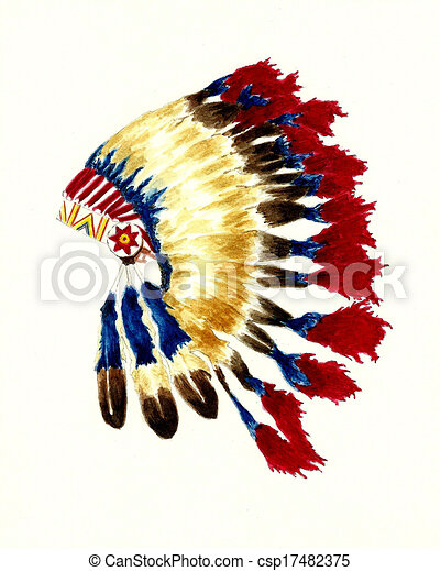 watercolor painting of a native american cherokee headdress