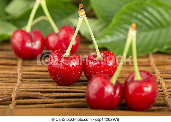 Cherries and branch with leaves - csp14282979