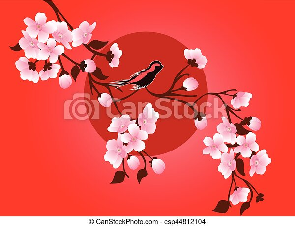 japanese cherry blossom art picture vector sakura flower rh canstockphoto com Japanese Cherry Blossom Illustration Cherry Blossom Tattoo Drawings