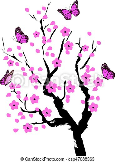 cherry blossom with butterflies clip art vector search drawings rh canstockphoto co uk cherry blossom vector psd cherry blossom vector art
