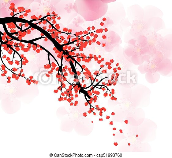 cherry blossom for chinese new year and lunar new year vector - Chinese New Year 1993