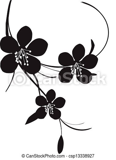 Cherry Blossom Black And White Illustration Of A