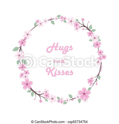 Cherry blossom leaves floral wreath - csp55734754