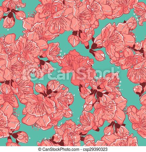 Cherry blossom, sakura seamless pattern.  - csp29390323