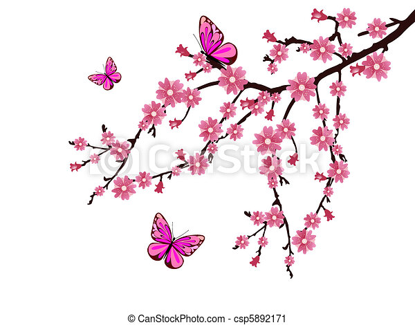 vector illustration of a branch with cherry blossoms rh canstockphoto com cherry blossom clip art right to left clipart of cherry blossoms