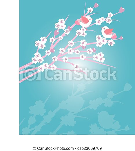 Cherry blossoms with birds - csp23069709