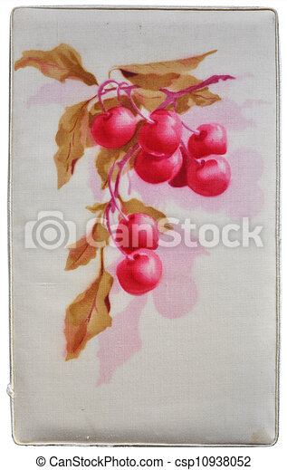 Cherry branch - Aquarell painting on fabric background - csp10938052