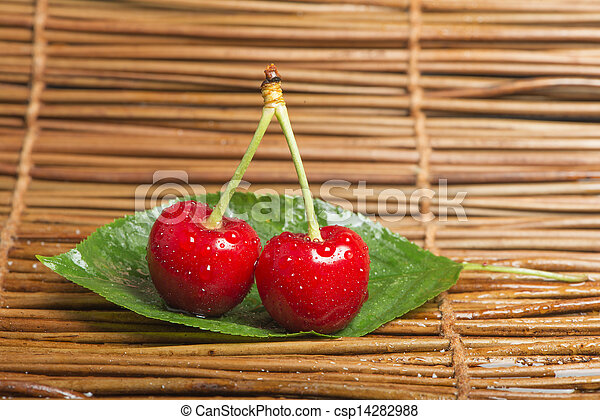 Cherry branch with leaves - csp14282988