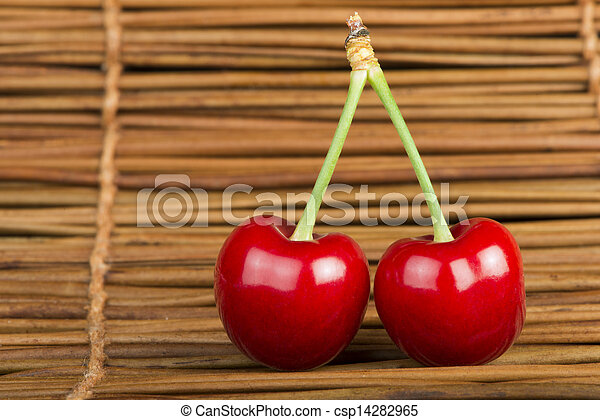 Cherry branch with leaves - csp14282965