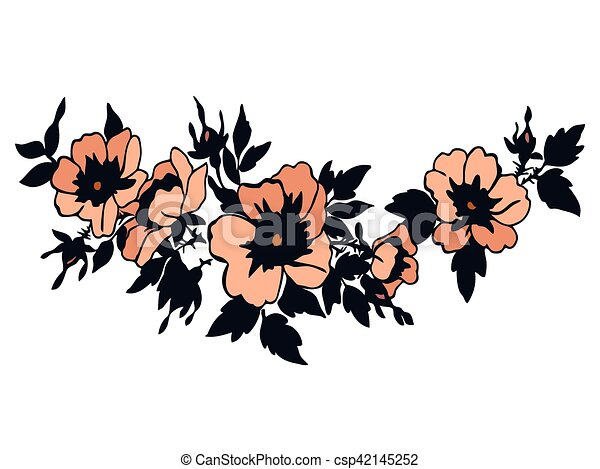 Cherry branches with flowers vector illustration isolated on whi - csp42145252