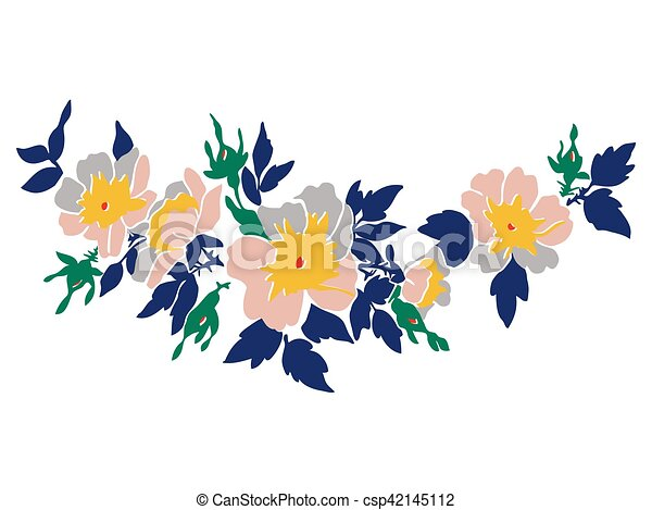 Cherry branches with flowers vector illustration isolated on whi - csp42145112