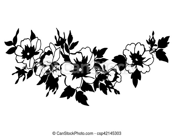Cherry branches with flowers vector illustration isolated on whi - csp42145303