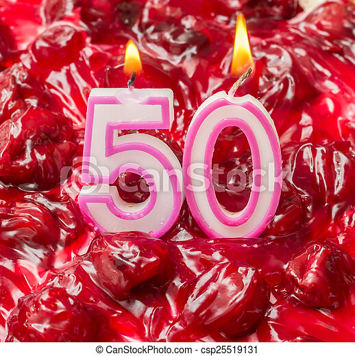 Cherry Cheese Cake With Candles For 50th Birthday