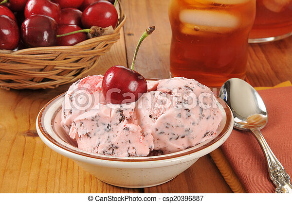 Cherry chocolate chip ice cream - csp20396887