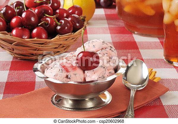 Cherry chocolate chip ice cream - csp20602968