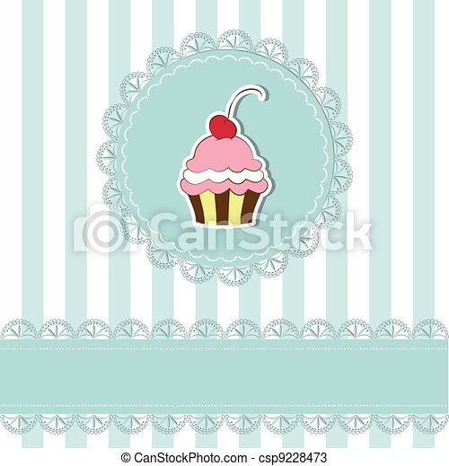 Cherry cupcake invitation card - csp9228473