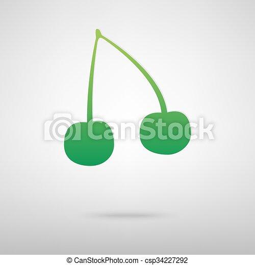 Cherry green icon - csp34227292