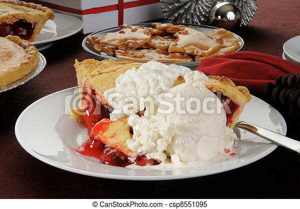 Cherry pie with ice cream - csp8551095