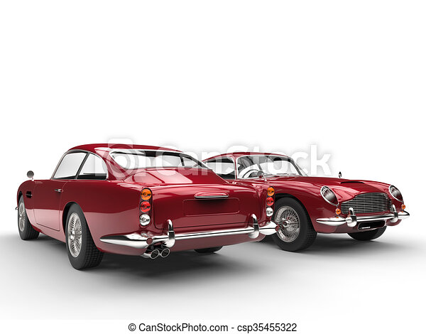 Cherry red classic vintage cars - csp35455322