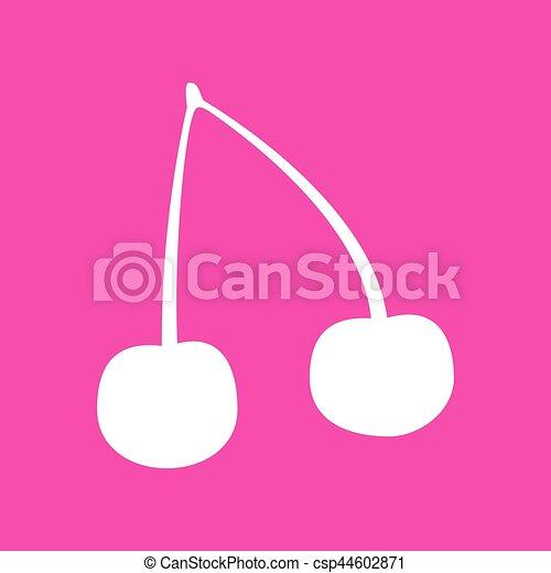 Cherry sign illustration. White icon at magenta background. - csp44602871