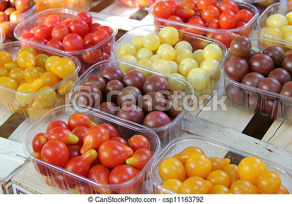 Cherry tomatoes at a French market - csp11163792