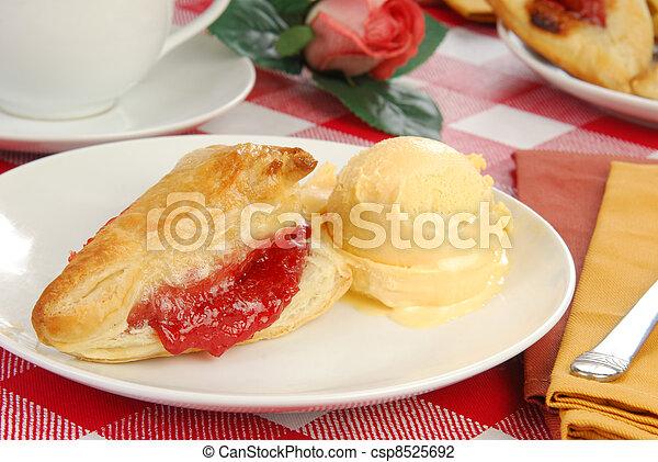 Cherry turnover with ice cream - csp8525692