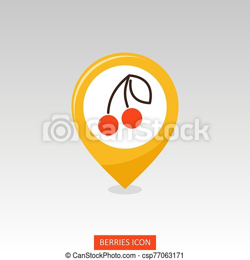 Cherry with leaf pin map icon. Cherry fruit sign - csp77063171