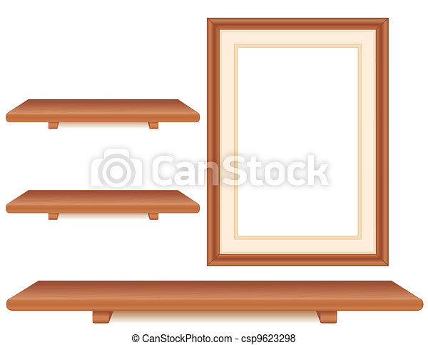 Cherry wood shelves, picture frame. Wall group of cherry wood ...