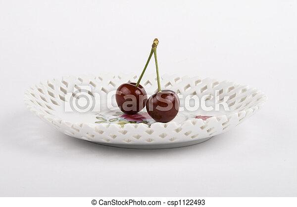 Cerezas y el plato - csp1122493