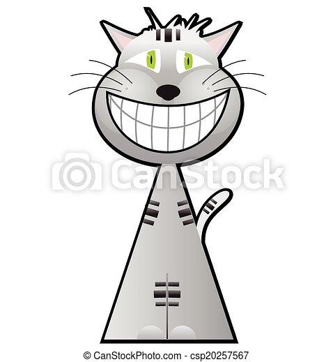 Cheshire, carácter, caricatura, gato. Carácter, aislado, ilustración ...