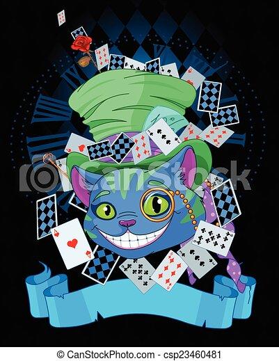 Cheshire cat in Top Hat design - csp23460481