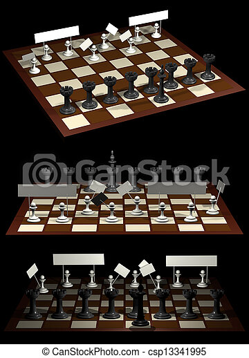 Chess allegory opposition citizens and government - csp13341995