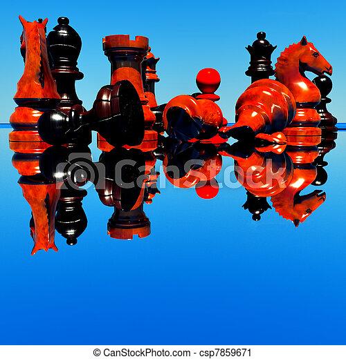 Chess battle -defeat - csp7859671
