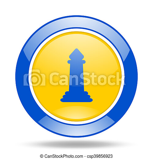 chess blue and yellow web glossy round icon - csp39856923