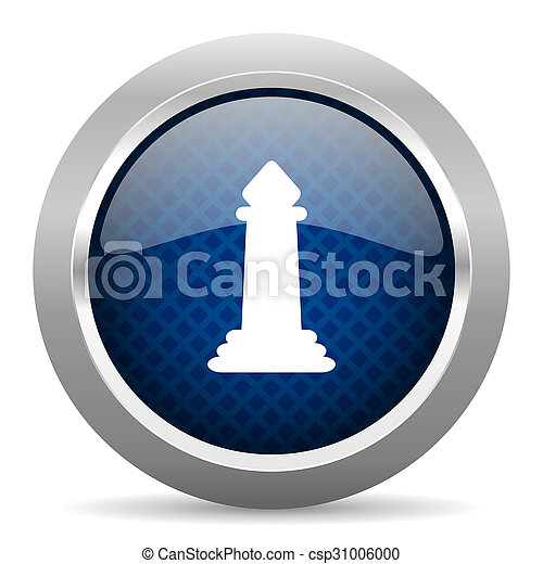 chess blue circle glossy web icon on white background, round button for internet and mobile app - csp31006000